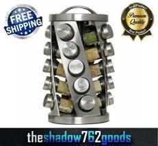 Revolving Carousel Spice Rack Stainless Steel 20 3 oz Jar Storage Organi... - $48.99