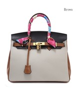 25cm Color Block Pebbled Italian Leather Birkin Style Satchel Handbag - $135.63+