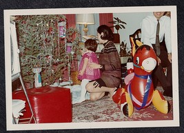 Vintage Photograph Mom, Dad & Little Girl by Christmas Tree - Blow Up Do... - $6.93