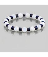 Rainbow Moonstone & Hematite Beaded Gemstone Stretch Bracelet Gift for W... - $59.99