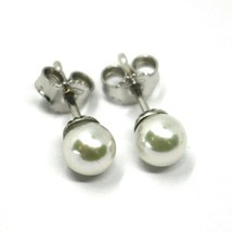 SOLID 18K WHITE GOLD STUDS EARRINGS, WITH ROUND AKOYA PEARLS, DIAMETER 5.5/6 MM image 1
