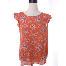Orange Floral Blouse Medium - $14.00