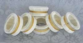 Vintage Set of 6 Napkin Rings Holders White Thr... - $14.99