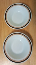 "Lot 2 Corning Pyrex 6.5"" milk Glass Ware white brown rim Bowls  707-16 - $17.97"