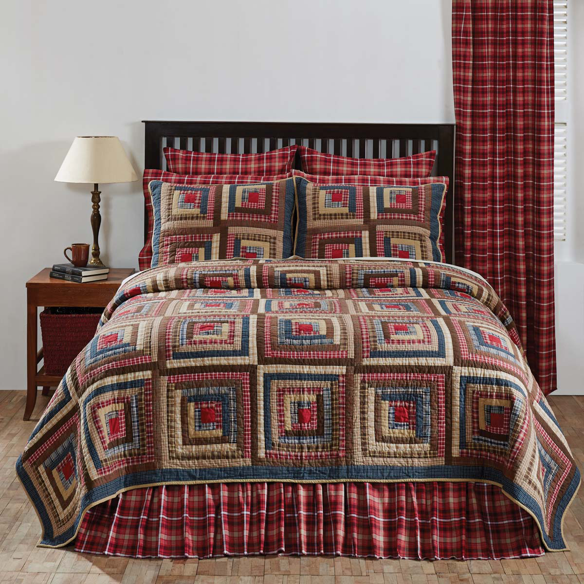 5-pc King - BRAXTON Quilt Country Log Set - Red, Blue, Natural - VHC Brands