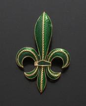 Vintage Crown Trifari© L'Orient Fleur de Lis Brooch, Green Enamel - $75.00