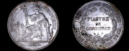 1904-A French Indo-China 1 Piastre World Silver Coin - Vietnam - $124.99