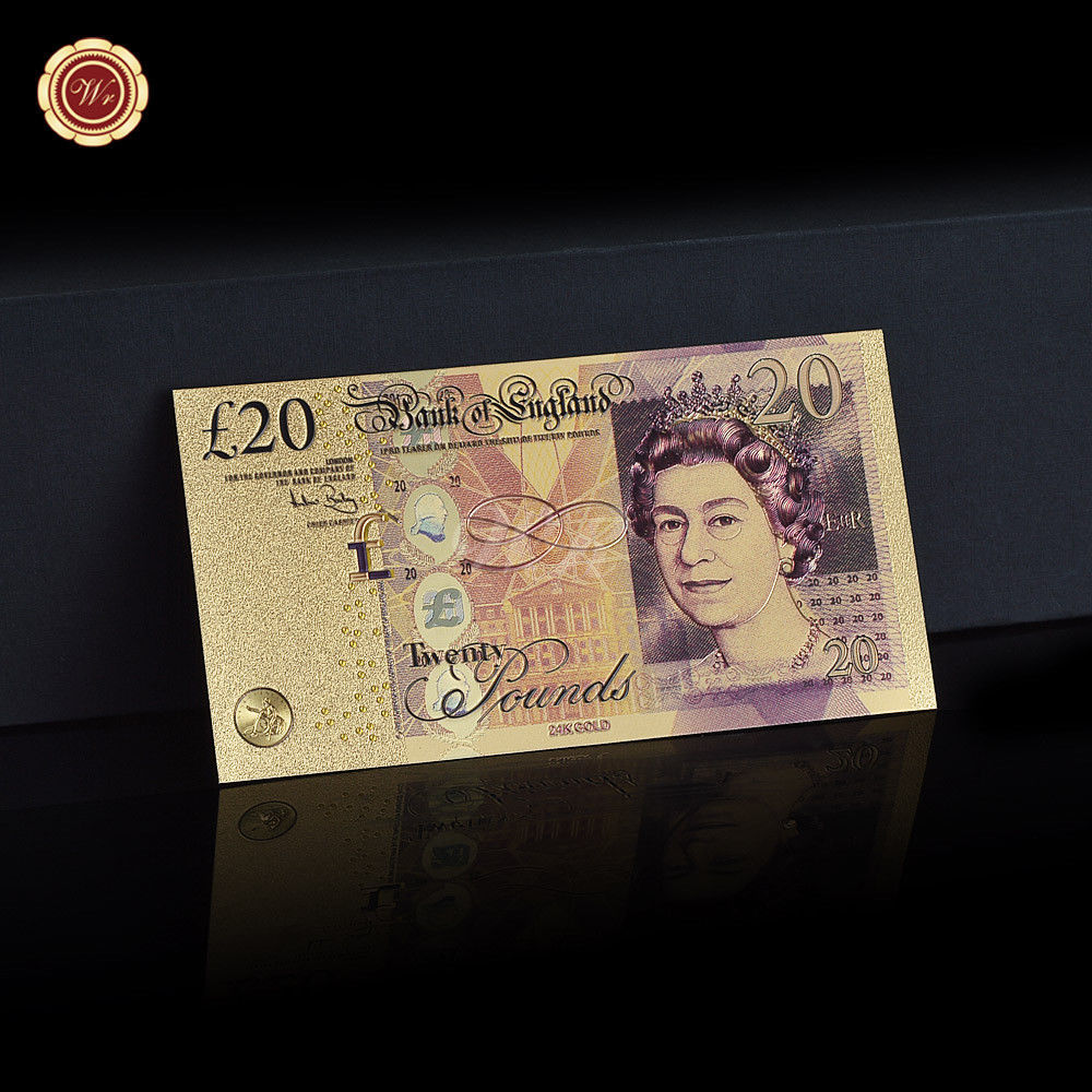 WR Set of Color Gold UK Banknotes 5 Pound - 50 Pounds British Polymer Note Gifts image 6