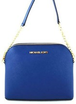 AUTHENTIC NEW NWT MICHAEL KORS $168 LEATHER CINDY BLUE SAPPHIRE CROSSBOD... - $89.99