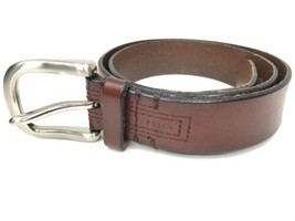 Fossil Mens Brown Leather Belt Silver Tone Square Buckle Size 34 - $18.70