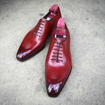 Handmade Men Burgundy Heart Medallion Lace Up Dress/Formal Oxford Leather Shoes image 5