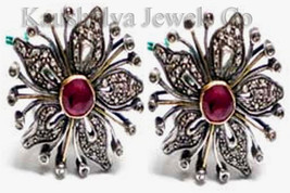 Victorian 3.02ct Rose Cut Diamond Ruby Cute Good Looking Wedding Earrings - $325.38