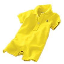 YELLOW Baby Polo Bodysuit Infant Romper Toddlers Onesies Learn Creeping Climbing