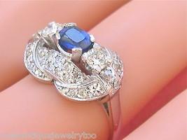 VINTAGE RETRO 1ctw DIAMOND .60ct OVAL SAPPHIRE PLATINUM COCKTAIL RING 1940 - $1,777.05