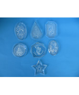 7 Clear Flat Hard Plastic Christmas Ornaments - $7.69