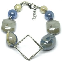 BRACELET BLUE GRAY ROUNDED DROP, SPHERE, EXAGON MURANO GLASS SQUARE ITALY MADE image 1