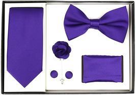 Berlioni Men's Handmade Microfiber Tie Bowtie Lapel Hanky Cufflinks Gift Box Set image 8