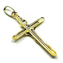 18K YELLOW GOLD JESUS CROSS PENDANT, SLAB, 1.26 INCHES, 3.2 CM image 3