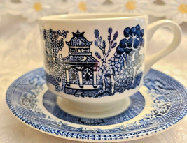 2 Sets Churchill Blue Willow Cup & Saucer Made in England image 2