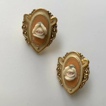 1928 Porcelain Rose Enamel Pierced Earrings Flower Gold Tone Vintage CHI... - $9.85