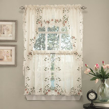 "Rosemary Floral Embroidered Semi-Sheer Kitchen Curtain 36"" Tier Swag Val... - $36.69"