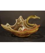 Unique Hand Blown Orange Swirl Glass Swan Bowl  - $12.00