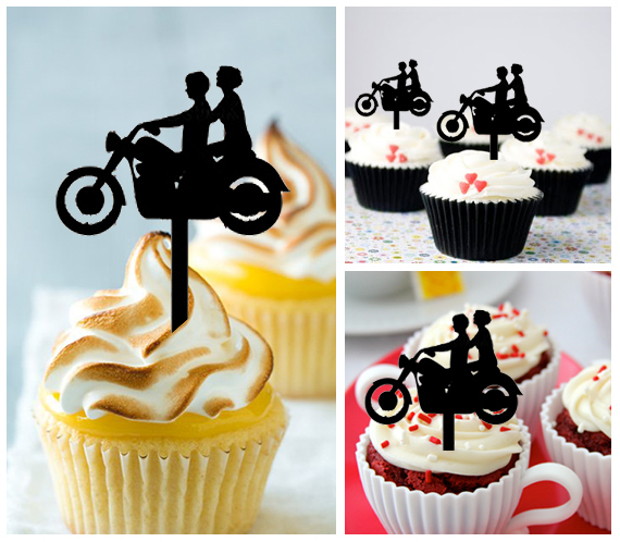 Ca140 Decorations cupcake toppers motorcycle classic silhouette : 10 pcs
