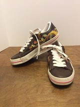 CONVERSE Women's Brown Leather Bird Floral Low Top Lace Sneakers Shoes Size 9.5 - $25.00