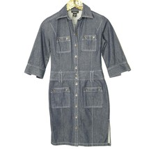 Express Womens Shirt Dress Size 5 6 Jean Denim Button Pockets - $496,46 MXN