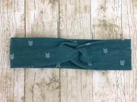 Green Arrow Print Jersey Stretch Faux Turban Headband New Gift - $6.26