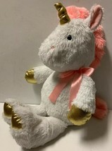 Animal Adventure WHITE UNICORN 19in Pink Mane Tail Ears Gold Hooves Horn... - $16.34