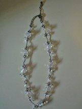 Ladies Vintage 1950's Sparkling White Aurora Borealis Crystal Dangle Bead Choker - $19.99