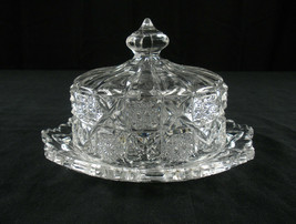 Westmoreland Bridle Rosettes Covered Butter Dish Antique Glass EAPG Checkerboard - $15.45