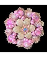 VTG Pink/Purple Brooch Rhinestones Acrylic Beads & Enamel  Round Gold To... - $11.73