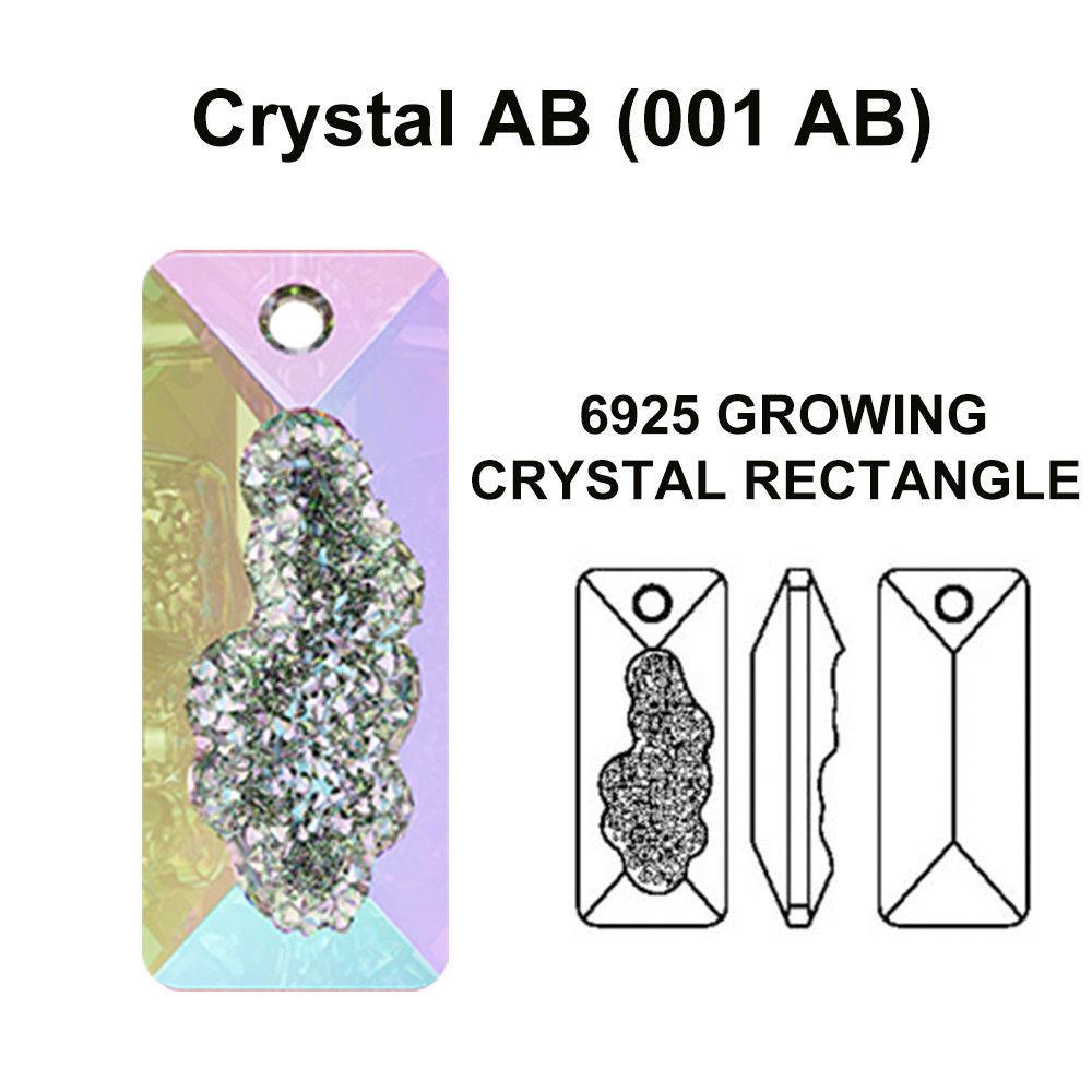 1 x CRYSTAL AB (001 AB) Swarovski 6925 Growing Rectangle 26mm Pendant necklace