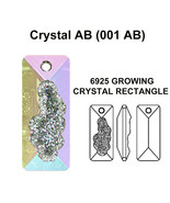 1 x CRYSTAL AB (001 AB) Swarovski 6925 Growing Rectangle 26mm Pendant ne... - $11.29