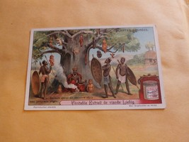 ANTIQUE FRENCH LIEBIG TRADE CARD-PLANTES SACREES NEGRE (NEGRO) TRIBE PEOPLE - $9.89