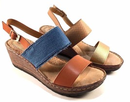 Henry Ferrera Comfort Blue/ Tan Wedge Platform Sandals - €33,27 EUR