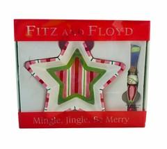 FITZ and FLOYD Christmas Star & Mistletoe Bowl & Canape Knife Set - New ... - $20.53