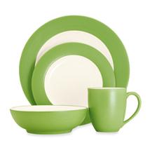 Springtime Round  Apple Green Rim  Stoneware China Dinnerware  4-Pie - $69.99
