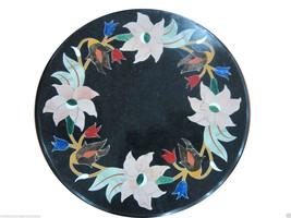 "18"" Marble Coffee Table Top Inlaid Gems Floral Mosaic Art Garden Furnitu... - $612.84"