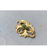 Vintage golden brooch with green crystals Vintage green rhinestones broo... - $25.00