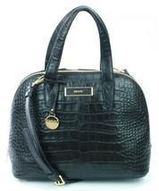 DKNY Donna Karan Black Leather Croc Embossed Shoulder Bag Medium Handbag - $304.37