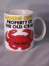 "HANDS OFF! Property Of The Old Crab coffee cup approx 3.8"" tall Ocean Shores, WA image 1"