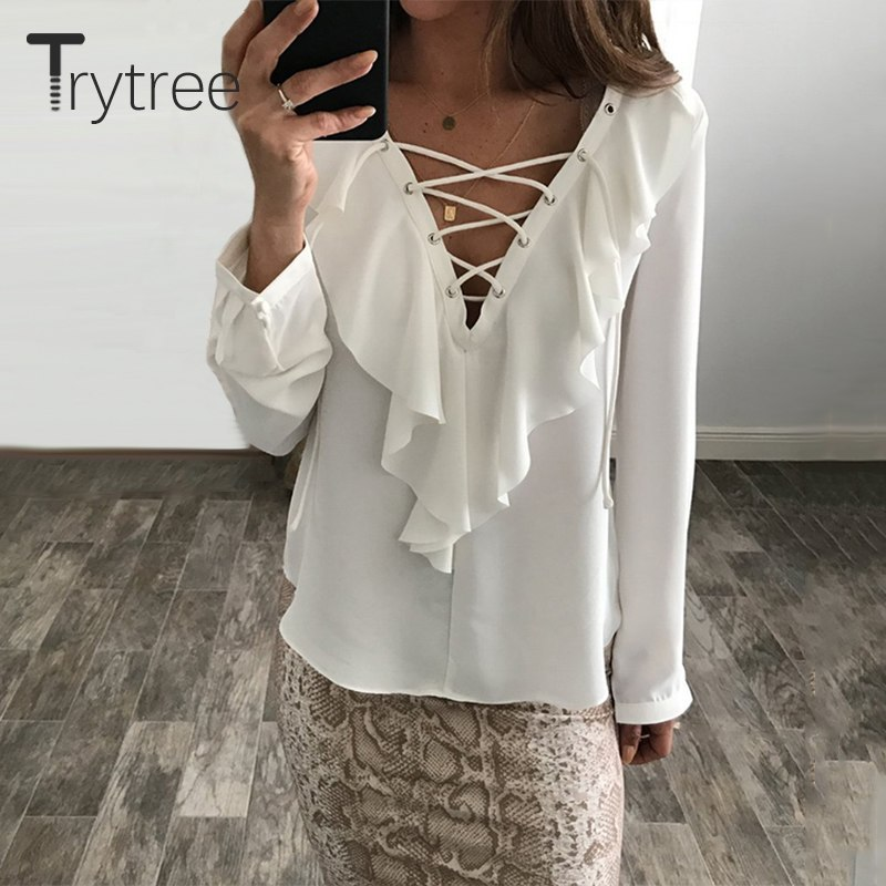 2018 Fashion Spring Summer Women Chiffon Blouse Sexy Lace Up V Neck Ruffles Long