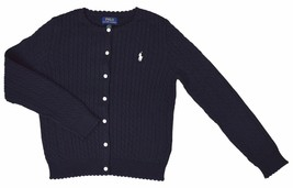 Polo Ralph Lauren Girls Buttoned Down Cable Knit Sweater Blue, L(12-14),... - $37.86