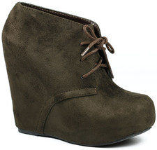 Brown Faux Suede Lace Up High Heel Platform Wedge Ankle Boot Bootie Soda Pager-s - $14.99