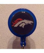 Nfl Denver Broncos Badge Reel Id Holder Blue Orange Alligator Clip Handm... - $8.99