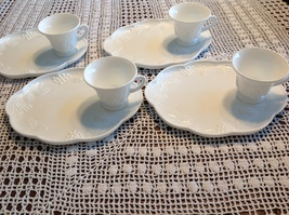 Colony Milk Glass Grape Vine Pattern 8 pc Luncheon Snack Set For 4 Vintage - $17.82