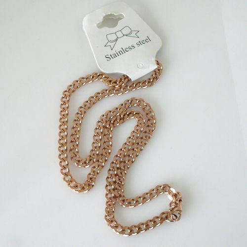 """New Unisex 18k Rose Gold Plated Stainless Steel Curb Link Necklace Chain 20"""" image 2"""
